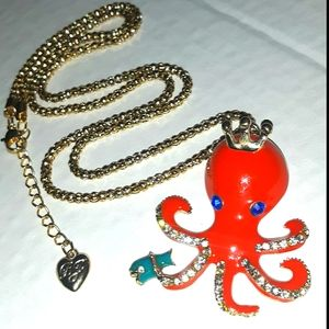 New Betsey Johnson pave Crown Octopus Necklace Set